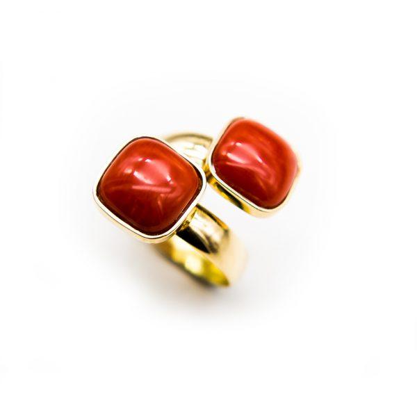 orobriz carmen joyeria sevilla anillo oro coral sortija